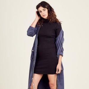 Women's Black Ribbed Mock Neck Midi Sweater Dress